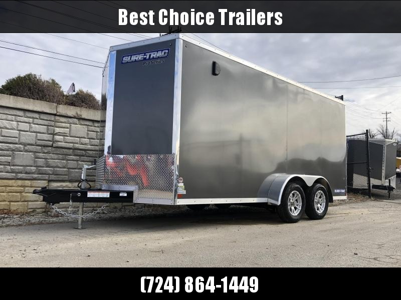"2021 Sure-Trac 7x16' Enclosed Cargo Trailer 7000# GVW * CHARCOAL * TORSION * SCREWLESS * ALUM WHEELS * 1PC ROOF * 6'6"" H * 6"" FRAME"