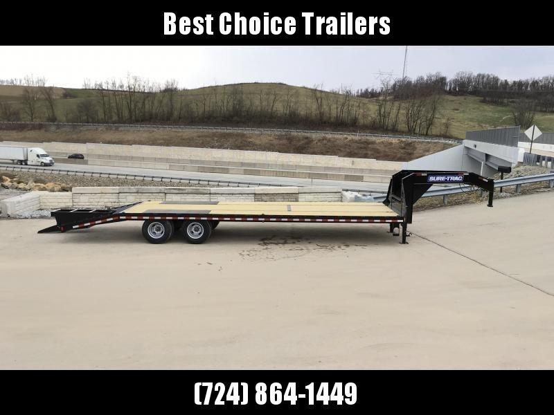 "2020 Sure-Trac 102x25' Gooseneck Beavertail Deckover Trailer 22500# GVW * DEXTER AXLES * FLIPOVER RAMPS + SPRING ASSIST * 12"" I-BEAM * PIERCED FRAME * RUBRAIL/STAKE POCKETS/PIPE SPOOLS/10 D-RINGS * CROSS TRAC BRACING * HD BEAVERTAIL * CLEARANCE"