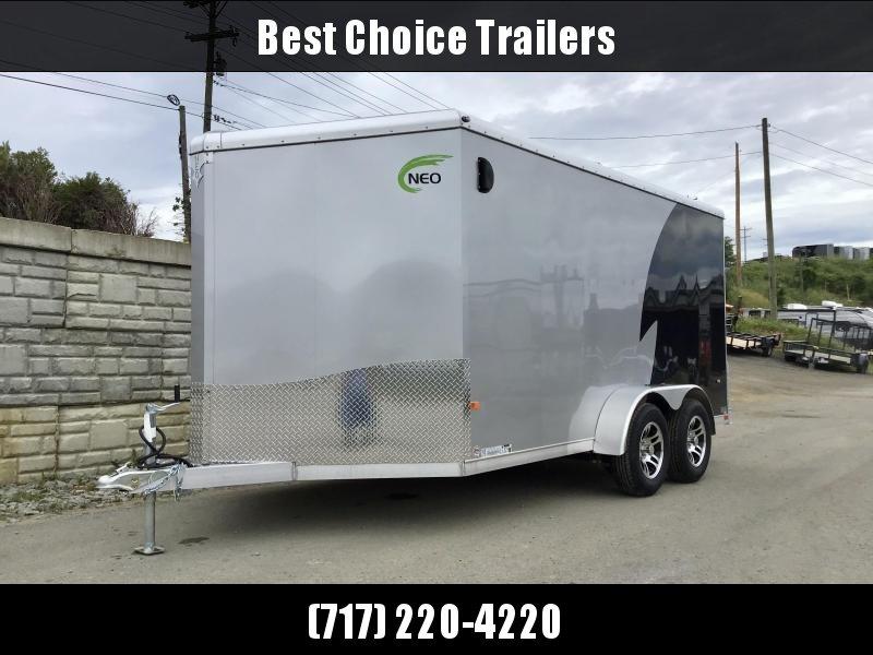 "2021 Neo 7x16' NAMR Aluminum Enclosed Motorcycle Trailer * VINYL WALLS * ALUMINUM WHEELS * +6"" HEIGHT * BLACK+SILVER * SPORT TIE DOWN SYSTEM"