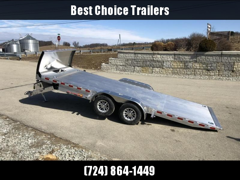 "2021 H&H 7x20' DELUXE Aluminum Power Tilt Car Hauler Trailer 9990# GVW * ROCK GUARD * DUAL TOOLBOXES * EXTRUDED FLOOR * SWIVEL D-RINGS * WIRELESS REMOTE * 8"" CHANNEL FRAME * REMOVABLE FENDERS * ALUMINUM WHEELS"