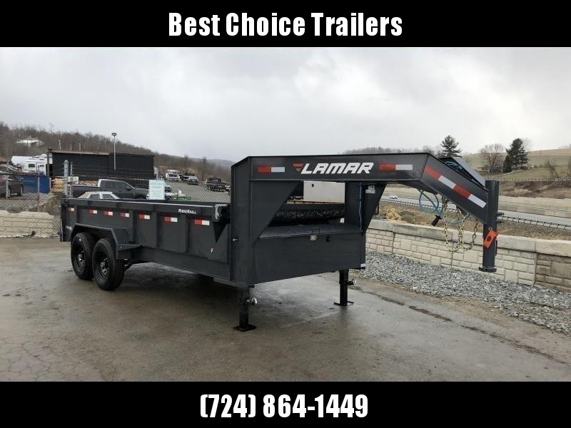 "2020 Lamar 7x16' Gooseneck Dump Trailer 14000# GVW * DUAL JACKS * FULL TOOLBOX * OIL BATH * REAR JACKSTANDS * 7GA FLOOR * 14-PLY TIRES * TARP KIT * SCISSOR HOIST * CHARCOAL * RIGID RAILS * NESTLED I-BEAM FRAME 28"" H * 3-WAY GATE * 12"" O.C. C/M"