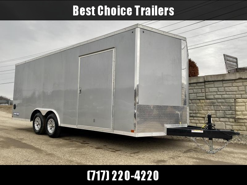 "2021 Sure-Trac 8.5x20' Deluxe Pro Series Enclosed Car Hauler Trailer 9900# GVW * SILVER EXTERIOR * V-NOSE * RAMP * 5200# TORSION AXLES * NUDO FLOOR & RAMP * VINYL WALLS * ESCAPE HATCH * .030 SCREWLESS EXTERIOR * ALUMINUM WHEELS * 1 PC ROOF * 48"" RV DOOR"