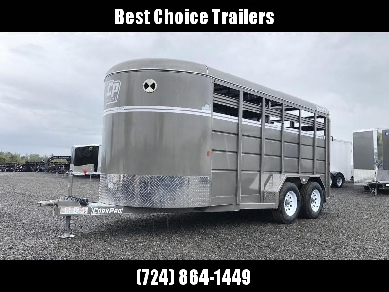 "2020 Corn Pro 16' Livestock Trailer 7000# GVW * PEWTER * TORSION SUSPENSION * DEXTER AXLES * 225/75/R15 8-PLY TIRES * HD FENDERS * CENTER AND REAR SLAM GATES * 4"" CHANNEL TONGUE * URETHANE PAINT * KILN DRIED LUMBER"