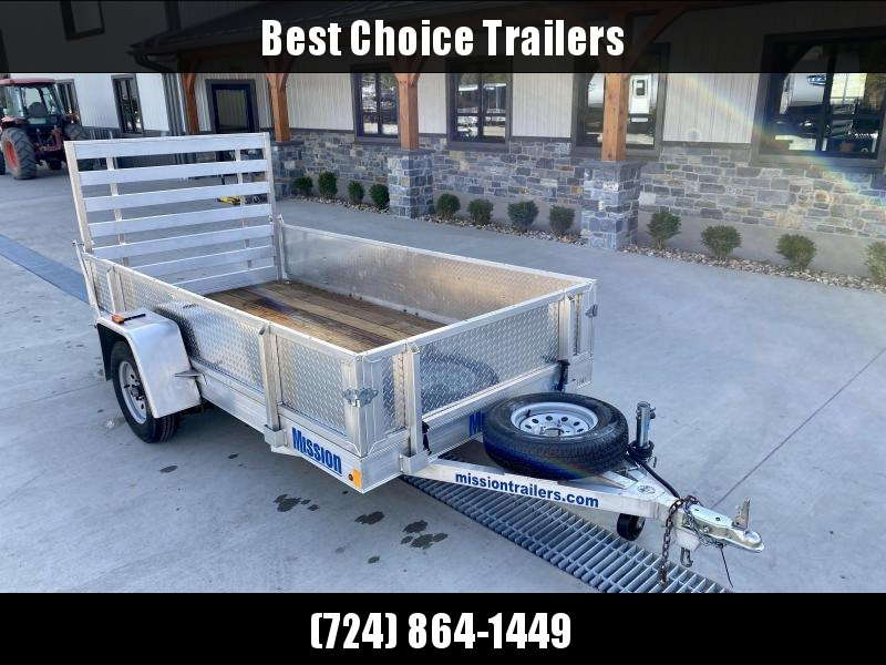 USED 2016 Mission 5x12 Aluminum Solid Side Landscape Utility Trailer 2990 GVW SOLID SIDES REMOVABLE SIDES WOODEN DECK D RINGS SWIVEL JACK SPARE TIRE