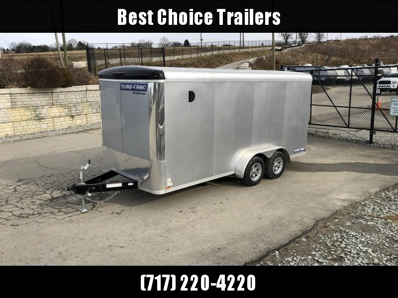 "2021 Sure-Trac 7x16' Pro Series Enclosed Cargo Trailer 7000# GVW * SILVER EXTERIOR * .030 SCREWLESS EXTERIOR * ROUND TOP * ALUMINUM WHEELS * 1 PC ROOF * 6'6"" HEIGHT * 6"" FRAME * 16"" O.C. C/M * PLYWOOD * TUBE STUDS"