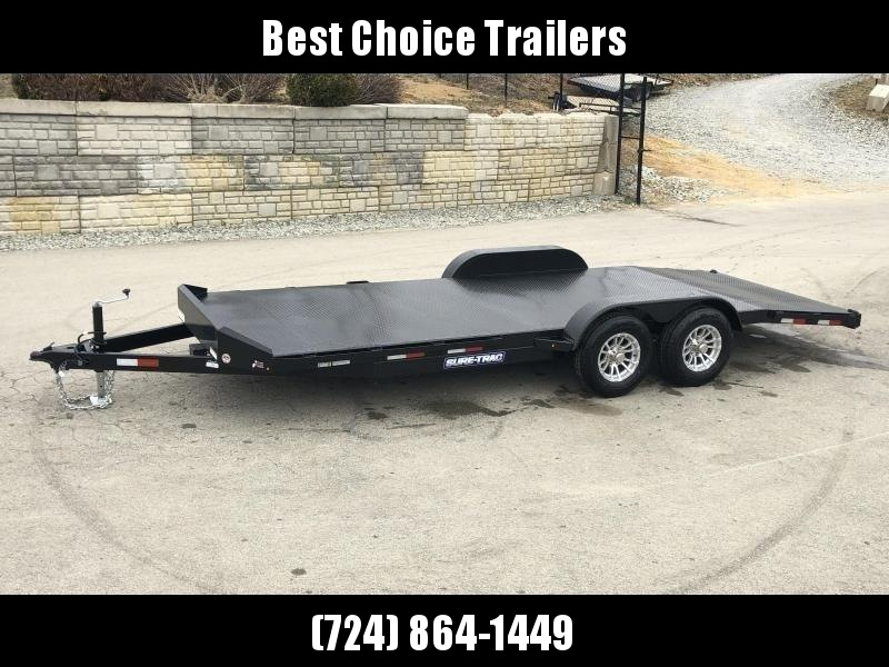 "2021 Sure-Trac 7x18' Steel Deck Car Hauler 7000# GVW * 4' BEAVERTAIL * LOW LOAD ANGLE * ALUMINUM WHEELS * 5"" TUBE TONGUE/FRAME * AIR DAM * RUBRAIL/STAKE POCKETS/D-RINGS * REMOVABLE FENDER * FULL SEAMS WELDS * REAR SLIDEOUT PUNCH PLATE RAMPS"