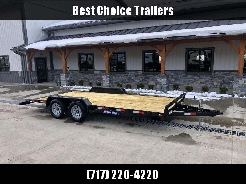 2021 Sure-Trac 7x16' Wood Deck Car Hauler 7000# GVW * REAR SLIDE OUT PUNCH PLATE FINGERJOINTED RAMPS * DIAMOND PLATE FENDERS * SEALED WIRING HARNESS * SET BACK JACK * STAKE POCKETS/D-RINGS * DIAMOND PLATE DOVETAIL