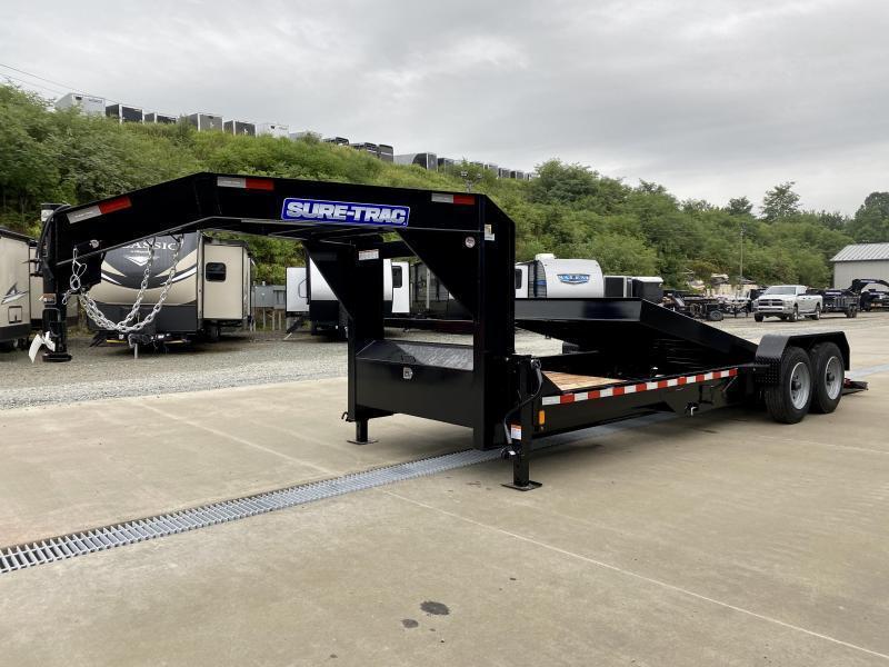 2021 Sure-Trac 7x18+4' Gooseneck Power Tilt Equipment Trailer 14000# GVW * SPLIT DECK POWER TILT * DUAL PISTON * FULL TOOLBOX * D-RINGS/RUBRAIL/STAKE POCKETS * OAK DECKING * I-BEAM NECK * 2ND JACK * CLEARANCE