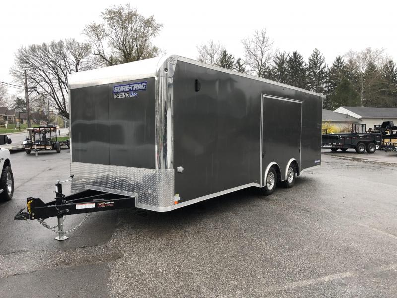 USED 2020 Sure Trac Racing Pro Enclosed Car Hauler Trailer * STBNRP10224TA-100 * NEW MODEL * LOADED * FULL ESCAPE HATCH * CHARCOAL