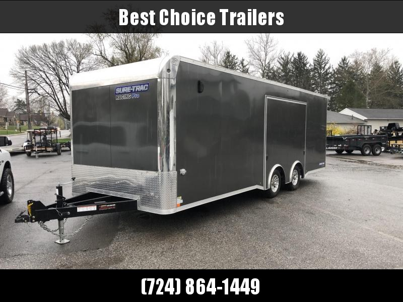 USED 2020 Sure Trac Racing Pro Enclosed Car Hauler Trailer * STBNRP10224TA-100 * LOADED * FULL ESCAPE HATCH * CHARCOAL