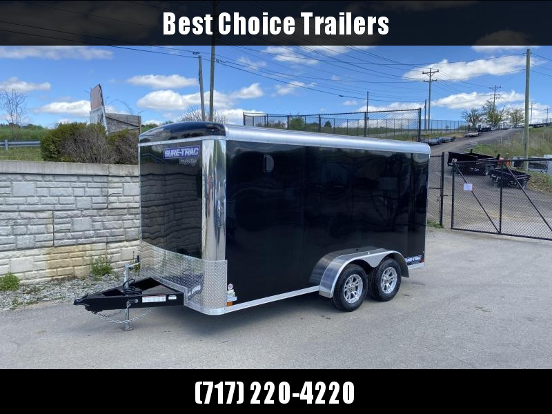"2020 Sure-Trac 7x14' Pro Series Enclosed Cargo Trailer 7000# GVW * BLACK EXTERIOR * .030 SCREWLESS EXTERIOR * ROUND TOP * ALUMINUM WHEELS * 1 PC ROOF * 6'6"" HEIGHT * 6"" FRAME * 16"" O.C. C/M * PLYWOOD * TUBE STUDS"