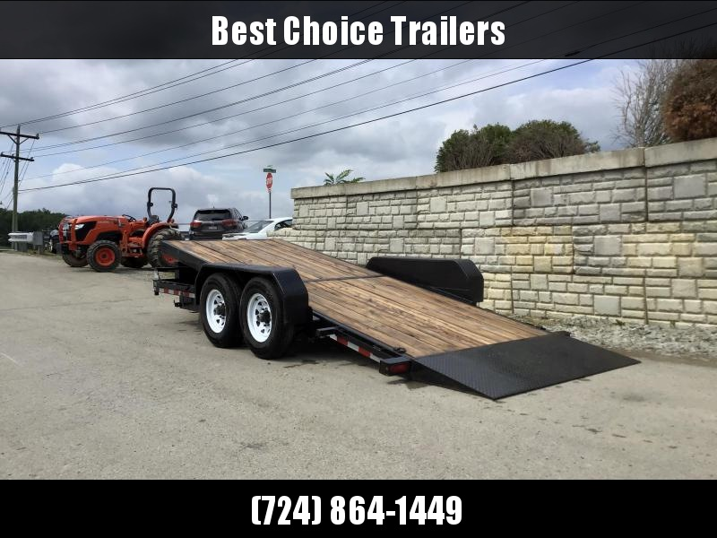 USED 2018 Sure-Trac 7x18' Gravity Tilt Equipment Trailer 14000# GVW * DROP AXLES/LOW LOAD ANGLE * RUBRAIL/STAKE POCKETS/D-RINGS * HD FENDERS * ADJUSTABLE CAST COUPLER * SPARE MOUNT * SEALED HARNESS * TOOLBOX