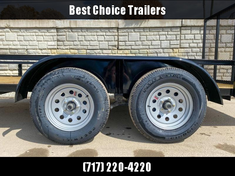"""2021 AMO 76x14' Angle Iron Utility Landscape Trailer 7000# GVW * 4"""" CHANNEL TONGUE * RADIAL TIRES * TUBE GATE C/M * BRAKES ON BOTH AXLES * LED LIGHTS"""
