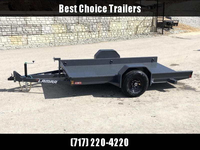 "2020 Lamar 59x10' Single Axle Scissor Hauler Gravity Tilt Equipment Trailer 7000# GVW * 7000# TORSION AXLE* STEEL FLOOR 3/16 * WRAPPED SIDES * EXTRA D-RINGS * SPARE MOUNT * CHARCOAL * FULL FRAME * 16"" 10-PLY TIRES * ADJUSTABLE COUPLER * DROP JACK"