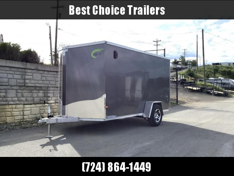 2021 Neo 6x12 NAVF Aluminum Enclosed Cargo Trailer * RAMP DOOR * CHARCOAL * ALUMINUM WHEELS