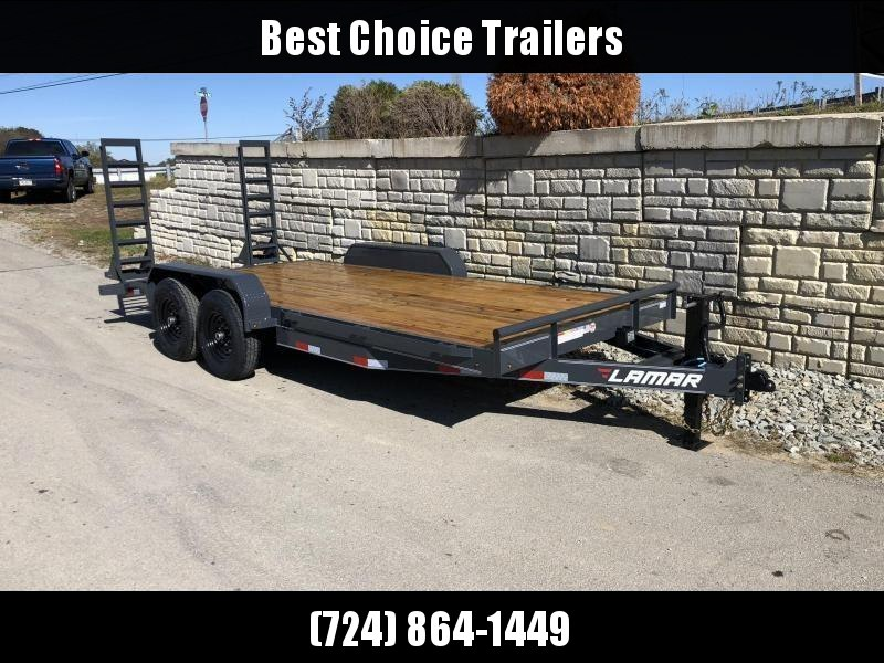 2021 Lamar 7x20' Equipment Trailer 14000# GVW * STAND UP SPRING ASSISTED RAMPS * CHARCOAL POWDERCOAT * RUBRAIL/STAKE POCKETS/PIPE SPOOLS/D-RINGS * REM FENDERS * 12K JACK * CAST COUPLER * COLD WEATHER HARNESS * DIA PLATE DOVETAIL