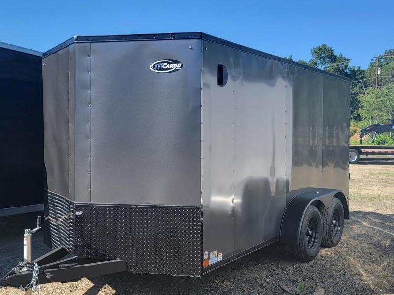 "2021 ITI Cargo 7x14' Enclosed Cargo Trailer 7000# GVW * BLACKOUT PKG * .030 SEMI-SCREWLESS * 1 PC ROOF * 6'6"" INTERIOR * 3/8"" WALLS * 3/4"" FLOOR * PLYWOOD * 24"" STONEGUARD * HIGH GLOSS PAINTED FRAME * RV DOOR"