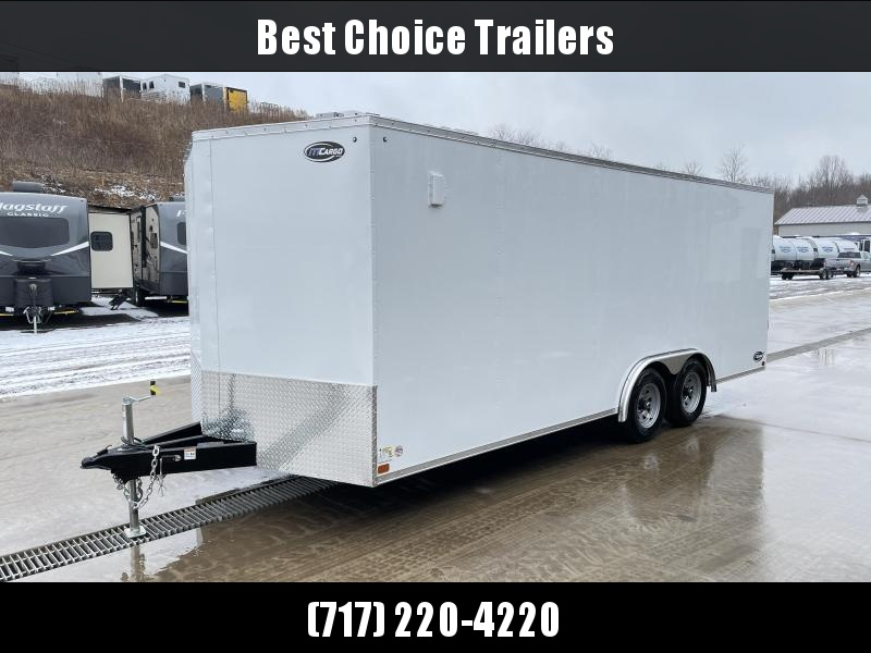 "2021 ITI Cargo 8.5x20 Enclosed Car Hauler Trailer 9900# GVW * WHITE EXTERIOR * .030 SEMI-SCREWLESS * RV DOOR * 1 PC ROOF * 3/8"" WALLS * 3/4"" FLOOR * PLYWOOD * TRIPLE TUBE TONGUE * 6'6"" INTERIOR * 24"" STONEGUARD * HIGH GLOSS PAINTED FRAME * D-RINGS"