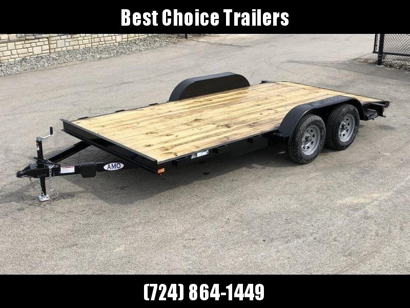 2021 AMO 7x16' Wood Deck Car Trailer 7000# GVW * LED TAIL LIGHTS * STACKED CHANNEL TONGUE/FRAME * BEAVERTAIL * REMOVABLE FENDERS * 2-AXLE BRAKES * CLEARANCE