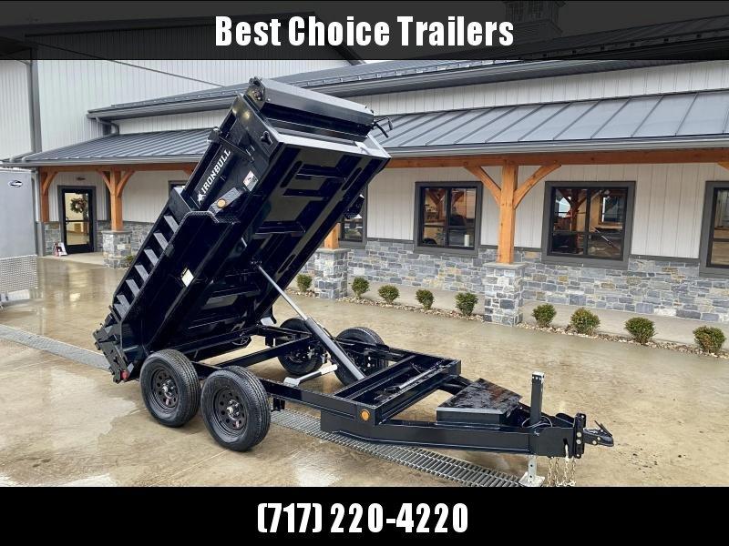 2022 IronBull 5x10' Dump Trailer 9990# GVW * 5200# AXLES  * TARP KIT * RAMPS * I-BEAM FRAME * INTEGRATED KEYWAY * 10 GA SIDES AND FLOOR * COMBO GATE * ADJUSTABLE COUPLER * DROP LEG JACK * 110V CHARGER