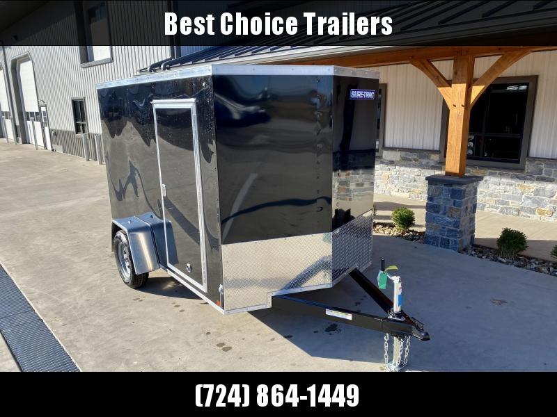 "2021 Sure-Trac 6x10' Enclosed Cargo Trailer 2990# GVW * BLACK EXTERIOR * V-NOSE * RAMP * .030 SEMI-SCREWLESS EXTERIOR * 4"" TUBE FRAME * TUBE STUDS * RV DOOR * BULLET LED'S * UNDERCOATED"