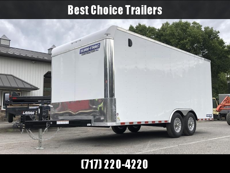 2021 Sure-Trac 8.5x16' Enclosed Contractor Pro 9900# GVW * COMMERCIAL ENCLOSED TRAILER * 5200# AXLES * HD RAMP DOOR * INTEGRATED KNIFE EDGE * TORSION * SCREWLESS * BACKUP LIGHTS * EXT TONGUE * ADJUSTABLE COUPLER * BULLNOSE