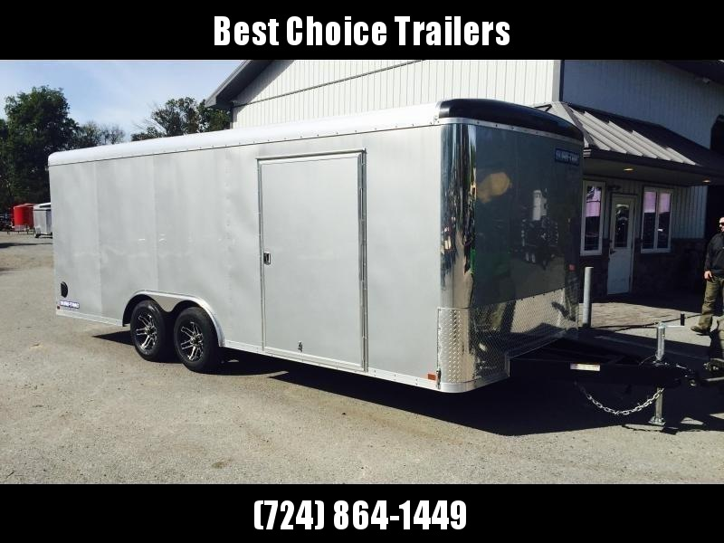 "2021 Sure-Trac 8.5x24' Pro Series Enclosed Car Hauler Trailer 9900# GVW * SILVER EXTERIOR * .030 SCREWLESS EXTERIOR * ROUND TOP * ALUMINUM WHEELS * 1 PC ROOF * 7K DROP JACK * 6"" TUBE FRAME * 48"" RV DOOR * PLYWOOD * 5200# AXLES * TUBE STUDS"