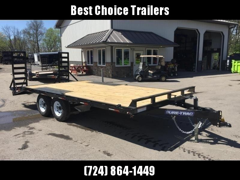 2021 Sure-Trac 102x18' Beavertail Deckover Trailer 9900# GVW * STAND UP RAMPS + SPRING ASSIST * TUBE SIDE RAIL + CROSSMEMBERS * RUBRAIL/STAKE POCKETS/D-RINGS * SPARE MOUNT * ADJUSTABLE COUPLER * DROP LEG JACK
