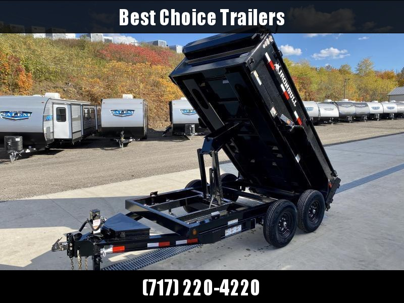 "2021 Ironbull 6x12' Dump Trailer 9990# GVW * DROP AXLES - SUPER LOW PROFILE * TARP KIT * SCISSOR HOIST * STACKED I-BEAM FRAME * 6"" TUBE BEDFRAME * 2PC 10GA BED & WALLS W/ KEYWAY * COMBO GATE * UNDERBODY BED RUNNERS * DEXTER AXLES * SPARE MOUNT * 2-3-2 WAR"