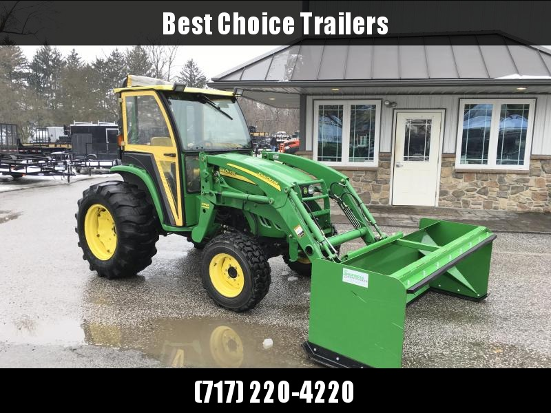USED John Deere 4120 Compact Tractor Hydrostat 4WD * SOFT CAB W/ HEAT * JD LOADER W/ BUCKET * NEW FRONT TIRES * NEW BATTERY * PALLET FORKS * SNOW PUSHER * 1906HRS