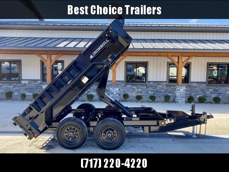 2021 IronBull 5x10' Dump Trailer 7000# GVW * SCISSOR HOIST * TARP KIT * RAMPS * I-BEAM FRAME * INTEGRATED KEYWAY * 10 GA SIDES AND FLOOR * COMBO GATE * ADJUSTABLE COUPLER * DROP LEG JACK * 110V CHARGER