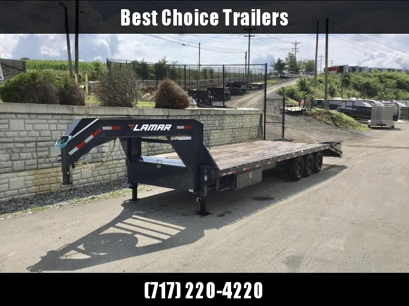 "2020 Lamar 102x28' Gooseneck Beavertail Deckover Trailer 21000# GVW * FLIPOVER RAMPS * 4' SIDE TOOLBOX * 12"" I-BEAM FRAME * FRONT TOOLBOX * DUAL JACKS * CHARCOAL * 16"" O.C. C/M * RUBRAIL/STAKE POCKETS/PIPE SPOOLS * 4X8"" TUBE BUMPER * CLEARANCE"