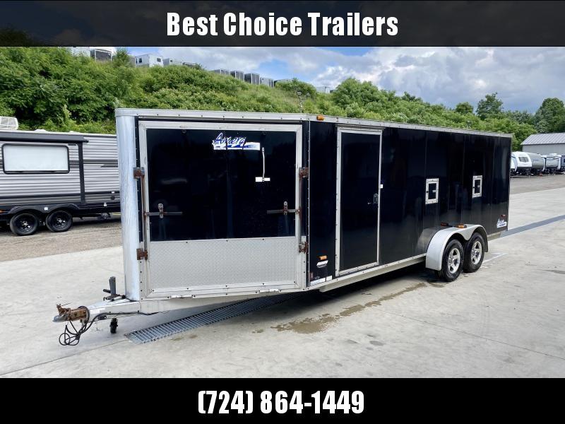USED Ameri-Lite 7x23' Aluminum Snowmobile Trailer 6000# GVW * FRONT RAMP DOOR * RV SIDE DOOR * DUEL FUEL DOORS * REAR RAMP DOOR * ALUMINUM WHEELS * ROOF VENT * SPARE TIRE