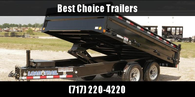 "2021 Load Trail 8x16' Deckover Dump Trailer 21000# GVW * 4' SIDES * OVERSIZE 6X21"" SCISSOR HOIST * 10"" I-BEAM FRAME * TARP KIT * 3-WAY GATE * 12K JACK * 6"" TUBE BED FRAME * 110V CHARGER * 10GA SIDES/FLOOR * INTEGRATED KEYWAY * POWDER PRIMER * DEXTER'S"