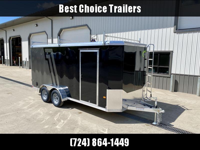 "2021 NEO 7x14' NAC Aluminum Bullnose Enclosed Cargo Trailer  * 7' HEIGHT UPG * JD SLASH 2-TONE * LADDER RACKS AND ACCESS LADDER * BLACK AND SILVER * ALUMINUM WHEELS * 16"" O.C. WALLS/CEILING * BARN DOORS"