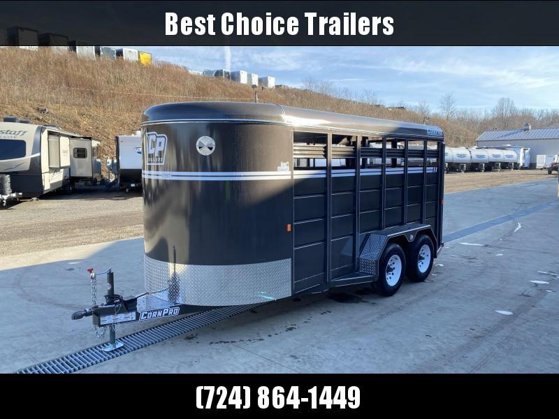 "2021 Corn Pro 16' Livestock Trailer 7000# GVW * BEIGE * TORSION SUSPENSION * DEXTER AXLES * 225/75/R15 8-PLY TIRES * HD FENDERS * CENTER AND REAR SLAM GATES * 4"" CHANNEL TONGUE * URETHANE PAINT * KILN DRIED LUMBER"