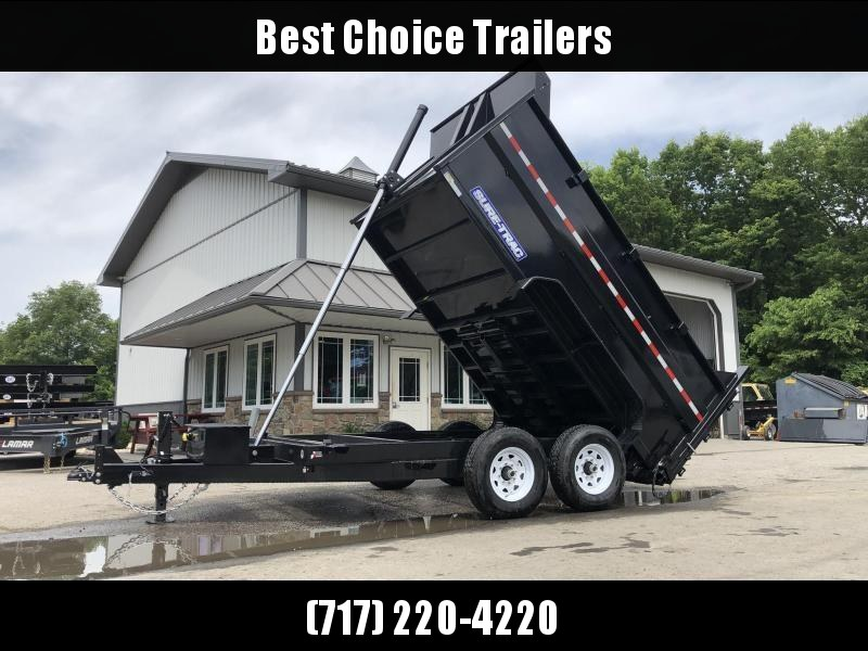 2020 Sure-Trac 7x12' Dump Trailer 14000# GVW * 4' HIGH SIDES * TELESCOPIC HOIST * 12K JACK * FRONT/REAR BULKHEAD * INTEGRATED KEYWAY * UNDERBODY TOOL TRAY * ADJUSTABLE COUPLER * 110V CHARGER * UNDERMOUNT RAMPS * COMBO GATE * SPARE MOUNT
