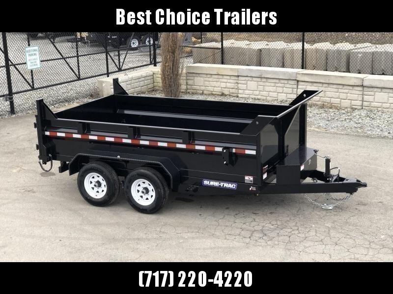 "2021 Sure-Trac 7x12' Dump Trailer 9900# GVW * DUAL PISTON * 2' SIDES * UNDERMOUNT RAMPS * COMBO GATE * 7K DROP LEG JACK * FRONT/REAR BULKHEAD * INTEGRATED KEYWAY * SPARE MOUNT * DOUBLE BROKE FENDERS * 4"" TUBE BEDFRAME * TRIPLE TUBE TONGUE"