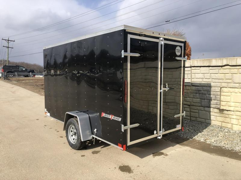 """2021 Wells Cargo 6x12' Fastrac DELUXE Enclosed Cargo Trailer 2990# GVW * BLACK EXTERIOR * RAMP DOOR * V-NOSE * .030 EXTERIOR * 6'6"""" HEIGHT * TUBE STUDS * 3/8"""" WALLS * 1 PC ROOF * 16"""" O.C. WALLS * BULLET LED'S"""