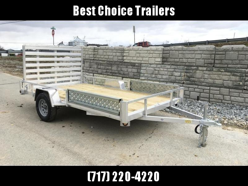 """2021 QSA 7x12' Aluminum ATV Utility Landscape Trailer 2990# GVW * ATV RAMPS * STANDARD MODEL * TUBE FRAME AND TONGUE * SPARE MOUNT * TIE DOWNS * 4' FOLD IN GATE * LED'S * FENDER GUSSETS * 3500# AXLE * 15"""" TIRES * TUBE TOP RAIL"""