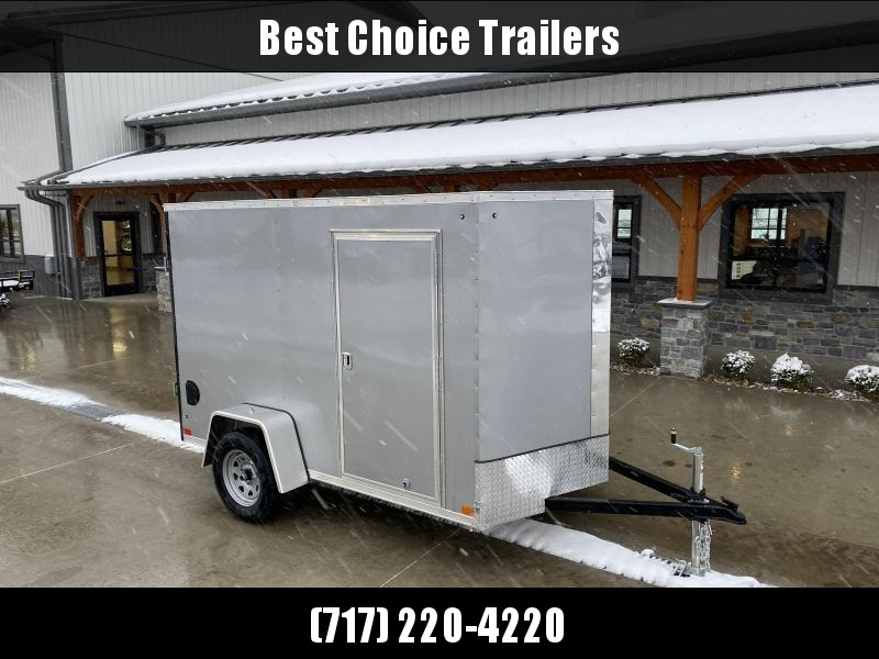 "2021 ITI Cargo 6x10' Enclosed Cargo Trailer 2990# GVW * SILVER EXTERIOR * .030 SEMI-SCREWLESS * 1 PC ROOF * 3/8"" WALLS * 3/4"" FLOOR * 16"" STONEGUARD * HIGH GLOSS PAINTED FRAME"