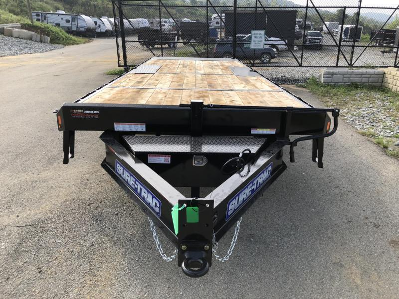 """2020 Sure-Trac 102x24' Power Tilt Deckover 17600# GVW * SCISSOR HOIST * HYDRAULIC JACK * 8000# AXLES * 17.5"""" 16-PLY TIRES * WINCH PLATE * OAK DECK UPGRADE * 3 3/8"""" BRAKES * 4X4X1/4"""" TUBE BED RUNNERS * RUBRAIL/STAKE POCKETS/PIPE SPOOLS/8 D-RINGS * LOW LOAD"""