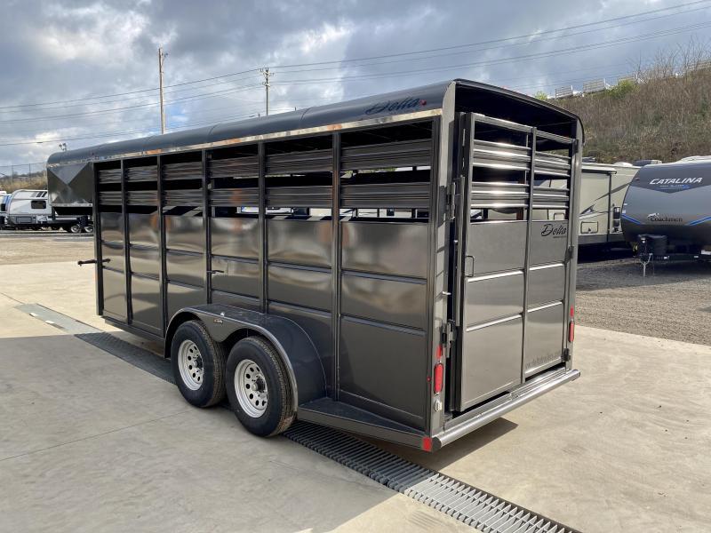 2021 Delta 16' Gooseneck Livestock Trailer 7000# GVW * GREY * CENTER GATE * ESCAPE DOOR * DEXTER