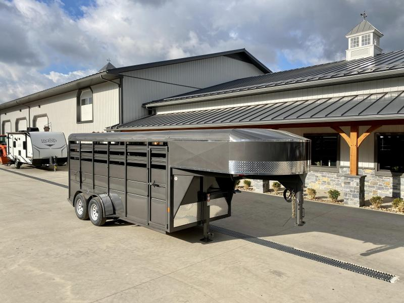 2021 Delta 16' Gooseneck Livestock Trailer 7000# GVW * GREY * CENTER GATE * ESCAPE DOOR * DEXTER