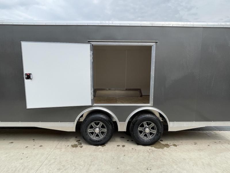 2021 NEO 8.5x24' NACX Aluminum Enclosed Car Hauler Trailer 9990# GVW * CHARCOAL EXTERIOR * ESCAPE DOOR * 5200# TORSION * BULLNOSE * SPREAD AXLE * DRT REAR SPOILER * NXP RAMP * ROUND TOP * HD FRAME * ALUMINUM WHEELS * RV DOOR * 1 PC ROOF