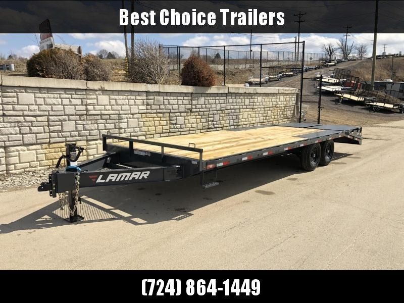 """2020 Lamar 102x24' Beavertail Deckover Trailer 14000# GVW * DUAL JACKS * SIDE TOOLBOX * FULL WIDTH (FLIPOVER OR STAND UP) RAMPS + SPRING ASSIST  * CHARCOAL * TOOL TRAY * HD COUPLER * I-BEAM FRAME * 16"""" O.C. C/M * RUBRAIL/STAKE POCKETS/PIPE SPOOLS * CHANNE"""