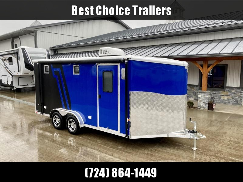 """2021 Neo 7.5x16' NAMR Aluminum Enclosed Motorcycle Trailer * VINYL WALLS/CEILING * ALUMINUM WHEELS * +12"""" HEIGHT * BLACK+BLUE * SPORT TIE DOWN SYSTEM * NUDO FLOOR * CABINETS * AWNING * 30""""x30"""" WINDOW * A/C UNIT * SPARE TIRE"""