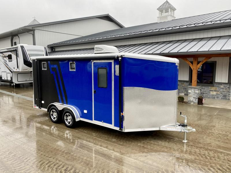 "2021 Neo 7.5x16' NAMR Aluminum Enclosed Motorcycle Trailer * VINYL WALLS/CEILING * ALUMINUM WHEELS * +12"" HEIGHT * BLACK+BLUE * SPORT TIE DOWN SYSTEM * NUDO FLOOR * CABINETS * AWNING * 30""x30"" WINDOW * A/C UNIT * SPARE TIRE"