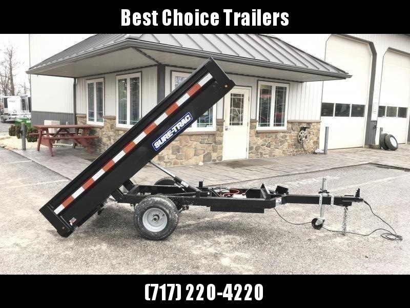 2021 Sure-Trac 4.5x8 Utility Dump Trailer 2990# GVW * ON OR OFF ROAD * SELF STORING RAMPS W/ SHARK GRIP * INTEGRATED KEYWAY * POWER UP/POWER DOWN * D-RINGS * LED'S * REMOVABLE TONGUE FOR STORAGE * IDEAL SIZE FOR ATV/GOLF CART/GARDEN TRACTOR