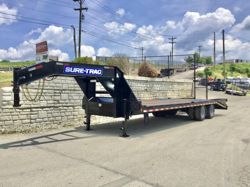 "USED 2017 Sure-Trac 102x25' Gooseneck Beavertail Deckover Trailer 22500# GVW * DEXTER AXLES * FLIPOVER RAMPS + SPRING ASSIST * 12"" I-BEAM * PIERCED FRAME * RUBRAIL/STAKE POCKETS/PIPE SPOOLS/10 D-RINGS * CROSS TRAC BRACING * HD BEAVERTAIL * CLEARANCE"